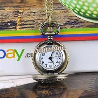 5pcs/lot women/men Dress Pocket Watch Dragonfly Hollow Vintage Style Bronze Steampunk Quartz Necklace Pendant Chain Clock 19321