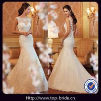 TBY11419 Elegant Round Neckline Designer Mermaid Vintage Wedding Dresses 2014