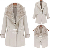 2014 Women winter desigual coat  Europe style new collars warm thickening vest long wool trench coat casacos femininos