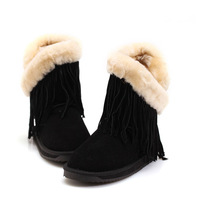 2014 warm winter 100% sheep skin and wool fur snow boots woman 3 colors tassels woman shoes size US 5-9 ED5823