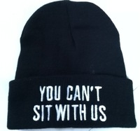 Hot Sale 2014 New Sport Winter YOU CANT SIT WITH US Beanie Cap Men Hat Beanie Knitted Winter Hats hiphop For Women Fashion Caps