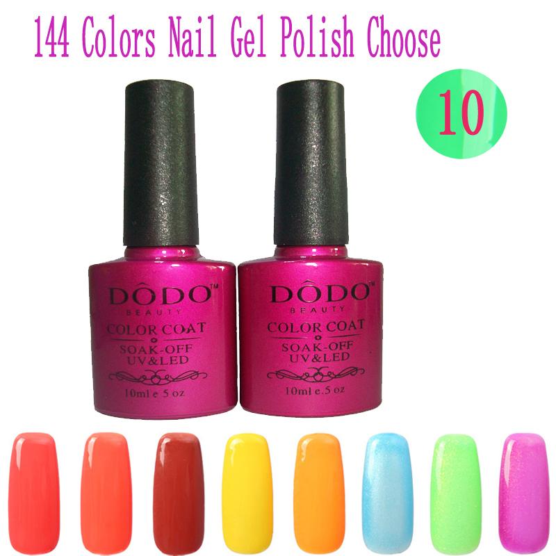 New Soak Off UV Nail Gel Polish 10Pcs/Lot (144 Colors Choose 8Colors Gel+1Base +1Top Coat) Environmentally Friendly Nail Glue(China (Mainland))