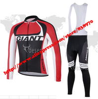 New clothing set! 2014 giant Winter Thermal Fleece Long Sleeve Cycling Jersey and bicicleta bib Pants ropa ciclismo men!
