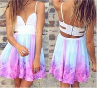 2014 Summer color printing Gradient dresses Party Dress Women's Sleeveless halter sexy vestidos dress desigual bandage dress