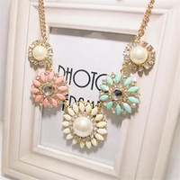 New Fashion Flower Necklace Bib Collar Choker Necklace Imitation Pear Jewelry Set   For Women PC-79