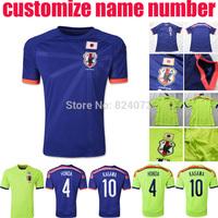 2014 Japan home blue away soccer jersey bsst thai quality Japanese HONDA KAGAWA football uniforms t shirts customize name