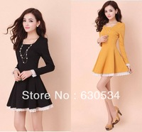 2015 Winter Dresses Trendy Clothes Women Long Sleeve Dress Black Dress Yellow Lace Dress.Free Shipping