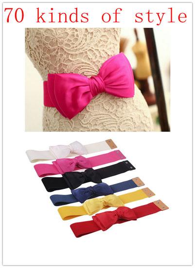 2014 Most Fashion Women 20 Candy kinds Chiffon Bow Belts All-match Wide Stretch Waist Elastic Cummerbund Free Shipping JP121401(China (Mainland))