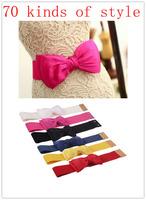 2014 Most Fashion Women 20 Candy kinds Chiffon Bow Belts All-match Wide Stretch Waist Elastic Cummerbund Free Shipping  JP121401