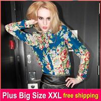 2014 Vintage Women Long Sleeve Camisas Impressas Floral Print Chiffon Colorful Tops Blouse Shirt S-XXL Pink Blue Free Shipping