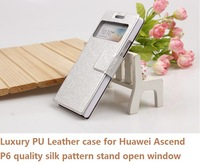 HuaWei P6 cover case Luxury PU Leather case  colorful high quality silk pattern Huawei P6 case with stand open window