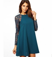 New 2014 women chiffon dress spring summer long-sleeve lace dress fashion o-neck party dress brand casual dress D003