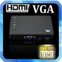 New Full Hd 1080P Media Player USB/SD RMVB RM H.264 MKV AVI VOB with AV, YUV, HDMI port Mini Hdd player free shipping