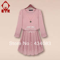 Free shipping Plus size clothing autumn 2013 slim full dress fashion long-sleeve dress autumn winter dress ol maternity clothing