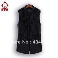 Free shipping cheap Fashion plus size star style fur rabbit fur patchwork medium-long woolen stand collar vest
