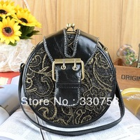 Free Shipping Embroidery Circular Denim Handbag For Women Fashion personality Small Messenger Bags Day Clutches Tote Bag