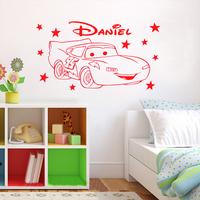 Cute Cartoon Cars Mcqueen Cars Stars Custom Name Vinyl Art Decals Wall Stickers Poster Wallpaper for Children Nursery Room Decor