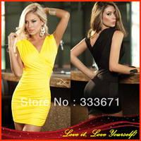Newest! Foreign Women's Sexy Mini Dress Slim Hip Yellow Sleeveless Sex Lingerie/ Club wear/ the Erotic costumes