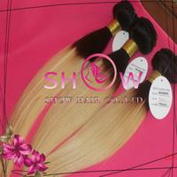 Nicki minaj hair , brazilian straight weft ,#1BT#27 ombre color brazilian hair,straight brazilian virgin hair Mix length