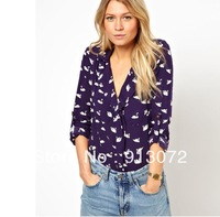 ST708 New Fashion womens' blue cute swan animal print blouse shirt long sleeve Turn-down collar shirt casual slim tops