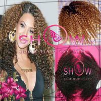 Fashion Afro Kinky curly  Beyonce real hair human virgin Brazilian/Peruvian/Malaysian 3 bundles with #1BT30 color lace closure