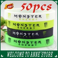 New year monster Silicone Wristband Bracelet 4 color kids gifts 50pcs /free shipping