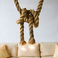 American style hemp rope pendant light bar table lamps nostalgic vintage clothes lighting personalized A0090