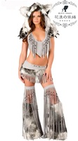 New 2013 Sexy Halloween Foxy Women Tassels Costumes,Skirt and Tail,Wolf  Fur Cosplay,Ape And Monkey Wear To Romper,India Style