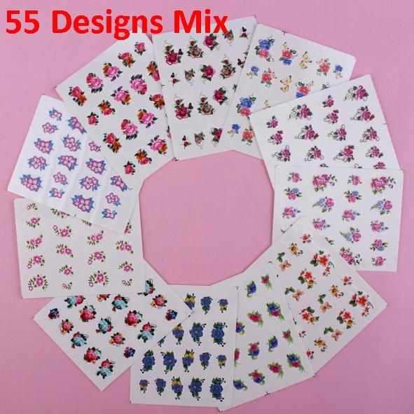 55 blatt nagel wraps wasser Transfers abziehbild verschiedenen Blumen nail art kostenloser versand