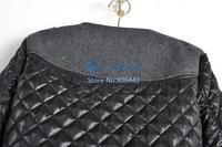 Cheapest Winter Women's 2014 Vintage Epaulette Mosaic Fashion O-Neck Slim Cotton-Padded Woolen Short Jacket 19008