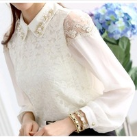 Spring 2014 new summer womens vintage chiffon lace shirts brand sweet long-sleeve patchwork blouse and shirt with bead decorated