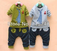 2013 new boys Outfits Children Fake tie leisure Suits Kids Baby T-shirt + pants 2pieces Fashion
