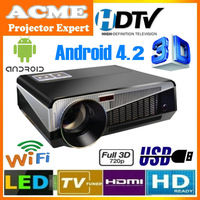4500lumens Full HD Native 1280X800 Smart Android wifi LED LCD Digital Projector With 2HDMI+3USB+SD+RJ45 Internet Port+Analog TV