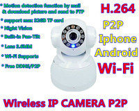 2014 New arrival Mini Wireless IP CAMERA P2P 1MEGA with Motion detection function Built-in Pan-Tilt  H.264