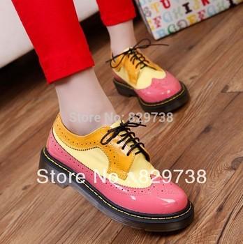 2014 Женщины's low heel oxfords shoes, Натуральная кожа shoes, thick Низ, vintage, ...