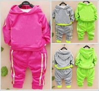4set/lot children outerwear shampooers velor jogging tracksuits sport set hoodie sweater pants kids Boys baby girls  clothes