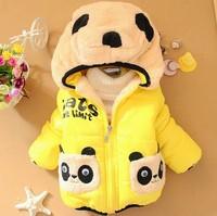 Retail 1 pcs free shipping Boy girl Hoodies 2013 winter padded clothes new children cartoon sweater panda Pocket coat