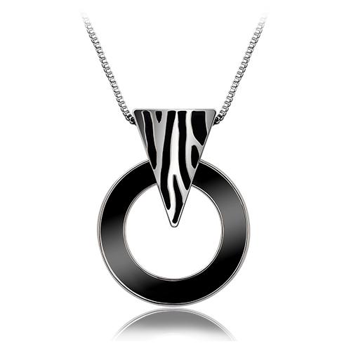 Viennois Silver Wild Zebra Black Acrylic Round Circle Necklace & Pendant women new free shipping(China (Mainland))