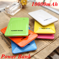 Free Ship Thin Mobile 10000mAh Power Bank Dual USB Charger 4 Connector Candy Portable External Battery For All Mobile Phone 3C13