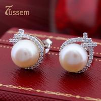 FUSSEM FINE JEWELRY New Arrival Lovely Fashion Stud Earrings,10mm Diameter Freshwater Pearl Earrings FREE SHIPPING