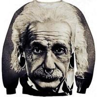 2014 New Women Men Einstein print Pullover 3D sports Sweatshirts Hoodies jacket space Galaxy sweaters clothes Tops