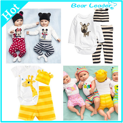 2014 New cotton children Mickey Minnie baby boys girls sets clothes 3pcs(Long-sleeved Romper+hat+pants)children clothing set(China (Mainland))
