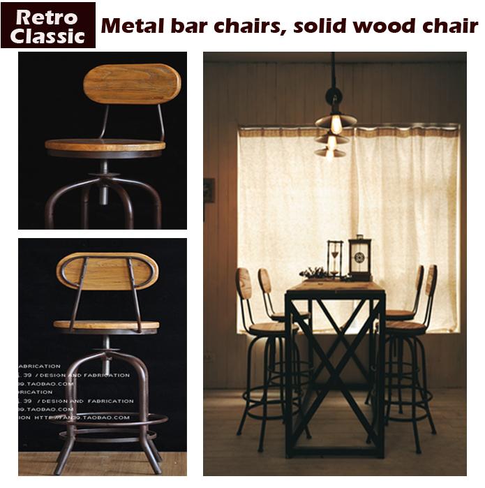 Cadeira da barra de metal do Vintage cadeira da barra elevador 100% cadeira de madeira tratamento anti ferrugem banquinho de madeira móveis de metal(China (Mainland))