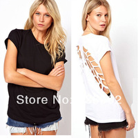 New 2014 fashion summer women  O-Neck sexy short sleeve t shirt  backless angel wings women Casual blouse plus size S--XXL