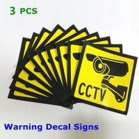 2014 brazil 3pcs Sticker Warning Decal Signs Home CCTV Surveillance Security Camera