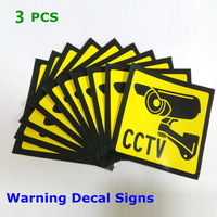 Christmas  3pcs Sticker Warning Decal Signs Home CCTV Surveillance Security Camera