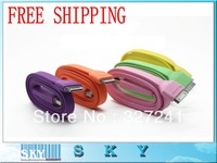 Free Shiping - Colorful Big Flat Noodle Data & Charger Cable for iPhone4/4s/ipad2/3/ipod USB Data Cable 3M High Quality
