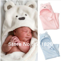 free shipping Infant baby  fleece wrap,baby soft bear receiving blankets with cute stand-out ears,infant baby bathrobe