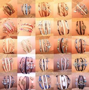 New 2015 Retro Leather Bracelet Creative Retro Love Believe Heart Hungry Bird 8 Word Cross Hand Woven PU Bracelets & Bangles(China (Mainland))