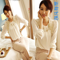 Women Long Sleeve Embroidered Chiffon Casual Top Blouse elegant lady White lace sweet loose Shirt O neck Pullover Clothing S-XL